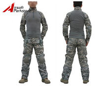 Airsoft Tactical Military Combat Uniform Shirt Pants w/ Elbow Knee Pads ACU Camo