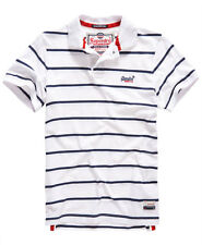 New Mens Superdry Miami Stripe Polo Shirt Optic