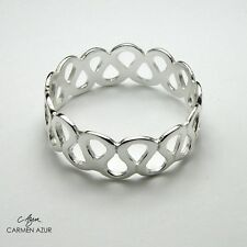 Solid 925 Sterling Silver Ring Wave Design New Ladies Size L1/2,O,Q inc Gift Bag