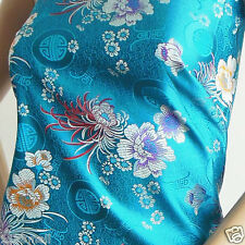 cbs 521 faux silk Chinese brocade fabric blue chrysanthemum flower pattern