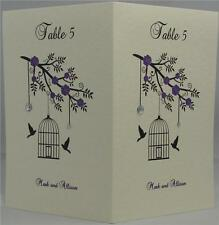 Ivory Personalised Wedding Table Name Number Card Bird Cage Diamante 18 Colours