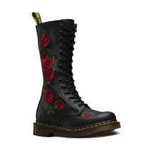 Dr Martens Vonda Red Roses on Black Softy Leather 14 eye Side Zip Ladies Boot
