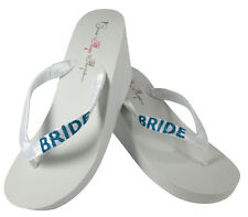 Turquoise Something Blue Bride Flip Flops, White Wedding Wedge