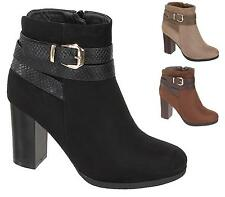 WOMENS LADIES BLOCK HEEL PLATFORM CHELSEA ANKLE BUCKLE ANKLE BOOTS SHOES 3-8