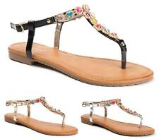 WOMENS FLATS TOE POST DIAMANTE SANDALS LADIES ANKLE STRAP T-BAR SHOES SIZE 3-8