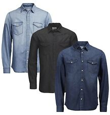 JACK & JONES Slim Fit Denim Shirt New Fashion Light Dark Blue Black Jean Shirts