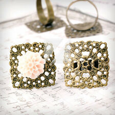 5/10pcs Antique Brass Ring Mountings Engagement Setting Square/Flower/Flat Round