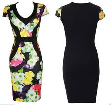 BLACK WIGGLE BODYCON DRESS ROCKABILLY PENCIL FLORAL Sizes 8 to 16