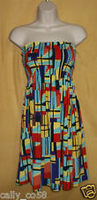 Derek Heart womens strapless top short dress calf skirt swimsuit coverup multi S