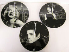 LESSER AND PAVEY MODERN GLASS ICON CLOCK MARILYN MONROE ELVIS PRESLEY HOME GIFT