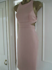 BEAUTIFUL ASOS NUDE PINK CUT OUT BODYCON MIDI DRESS SIZE 10 12 14