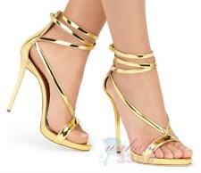 Womens Glitter Stiletto High Heels Gladiator Sandals Ankle Strap Pump Shoes Size