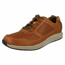 MENS CLARKS LACE UP LEATHER ROUND TOE SNEAKER STYLE CASUAL SHOES SIRTIS MIX