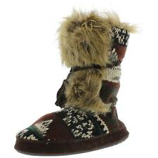 Muk Luks 3539 Womens Casual Knit Faux Fur Bootie Slippers Shoes BHFO