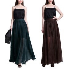 2 COLORS WOMEN'S CHIFFON SKIRTS PLEATED SWING LONG SKIRT LONG SKIRTS S-XXL SIZES