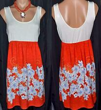 LOVE TREE Orange Blue Floral White Scoop Neck Stretchy top Dress Sz S M  L NWT
