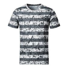 YIWEI Mens Cotton T-shirt Striped Short Sleeve Crew Neck Tee Premium Quality