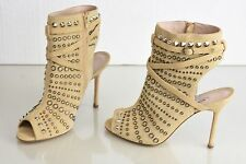 $1895 NEW Manolo Blahnik Billan Beige Taupe Suede Studs Sandals Boots Shoes 40