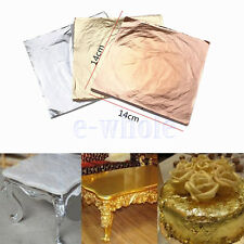 100PCS 14x14cm Gold/Silver/Copper Leaf Sheets Leaves Sheets Gilding Art Craft K6