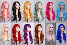 "28"" 70cm Long Hair Heat Resistant Spiral Curly Cosplay Party Full Wigs"