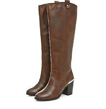 STYLISH SIZE 9 REAL LEATHER NEW LOOK TAN KNEE HIGH LONG BOOTS NEXT DAY POSTING