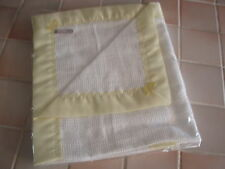 Handmade Baby Cellular White Cotton Blanket with Yellow Satin Binding - SECOND