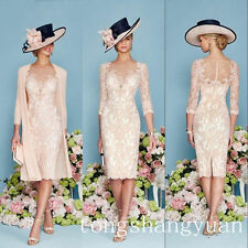 Luxury Pink Lace Mother Of Bride Dress Beading Jacket Chiffon Coat Knee length