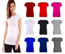 WOMENS LADIES CASUAL BASIC PLAIN CAP SHORT SLEEVE T-SHIRT TOP PLUS SIZE 8-26