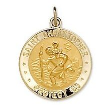 US COAST GUARD St. Christopher Medal Reversible14K Solid Yellow Gold & Sterling
