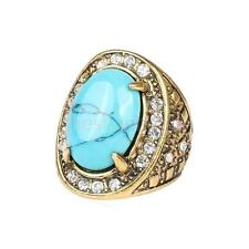 Crystal Blue Turquoise Engraved Ring Gift Vintage Lady Jewelry Size 8-10