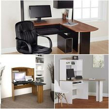 Home Office L-Shaped Desk w Hutch computer corner work station chair student NEW