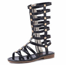 Spring New kids girl gladiator sandals strappy flat knee high zip up boots shoes