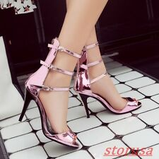 Womens Peep Toe Buckle Strap Stiletto High Heels Patent Leather SHoes Sandals Sz