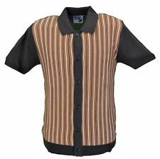 Retro Mod Retro Brown Striped Short Sleeved Polo Knit Cardigan