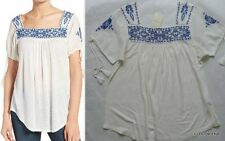 NWT LUCKY BRAND Sizes S/M/L Embroidered Linen Blend Peasant tunic top/Blouse