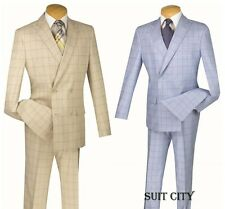 Men's Suit Double Breasted 2 Piece Slim Fit Blue & Tan Fancy Window Pane SD4W-1