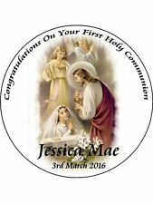 "FIRST HOLY COMMUNION 9"" ROUND CAKE TOPPERS PERSONALIZED EDIBLE PHOTOS ITEM902"