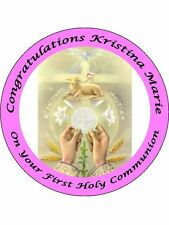 "FIRST HOLY COMMUNION 9"" ROUND CAKE TOPPERS PERSONALIZED EDIBLE PHOTOS ITEM910"