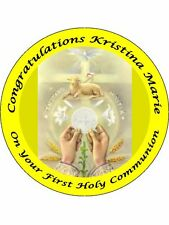 "FIRST HOLY COMMUNION 9"" ROUND CAKE TOPPERS PERSONALIZED EDIBLE PHOTOS ITEM911"