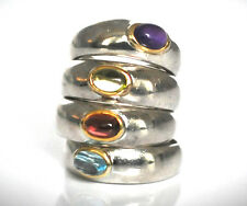 Sterling Silver (.925) Precious Stones Stackable Rings