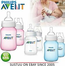 Avent Classic Plus Anti-Colic Baby Slow Flow Feeding Milk Bottle 260ml/ 9oz 2PK