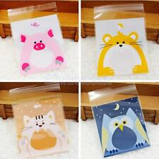 100 pieces Cute Animals Design Self-Adhesive Seal Bag Cookie Candy Gift Bag