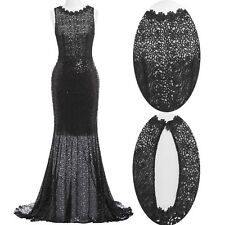Formal Long Floral Lace Sequins Gown Evening Prom Party Dress Cocktail Mermaid