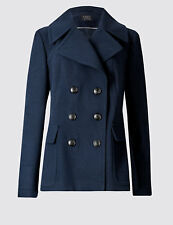 Monsoon Christy Pea Coat Navy Double Breasted Jacket Size 8 - 22