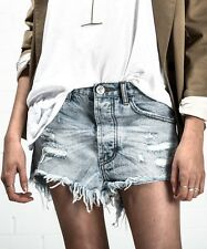 ONE TEASPOON TRASHED SHORTS 25 OUTLAWS BLUE HART DISTRESSED DENIM NWT