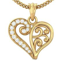 0.15ct IJ SI Real Diamond Filigree Heart Pendant Women Gift Yellow Gold