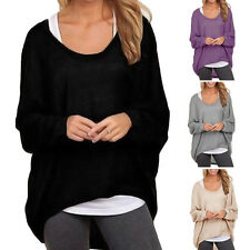 Womens Long Sleeve Plus Size Sweater Shirt Pullover Loose Jumper Blouses Tops UK
