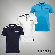 Mens Branded Firetrap Everyday Short Sleeves 1 Pocket Polo Shirt Top Size S-XXL