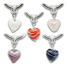 20 Mixed Glass Heart Dangle Beads Fit Charm Bracelet S3Y9