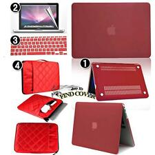 Wine Red Rubberized Hard Case+Bag+Keyboard +Screen protector for Apple Macbook